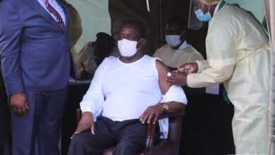 Zimbabwean President Mnangagwa Receives First Shot Of Sinovac COVID-19 Vaccine